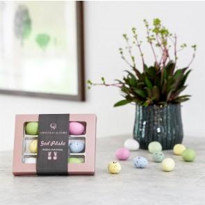God påske æske rosa, nougat fugleæg & marcipan pastelæg 9 stk. 110-120g