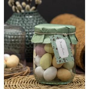 Happy Easter påskeglas, marcipan pastelæg 385-400g