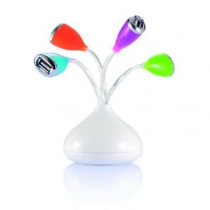 Blomster-USB-hub med 4 porte med LED-lys