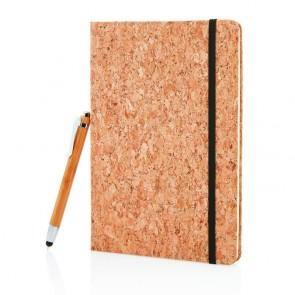 A5 notesbog samt bambuspen med stylus