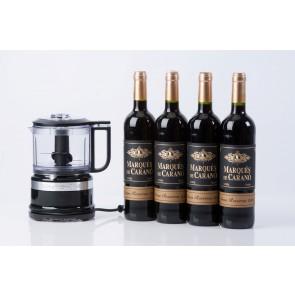 KitchenAid minifoodprocesser og 4 fl. rødvin