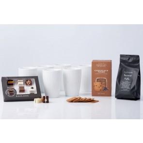 Pillivuyt Plissé Termokrus med chokolade, kaffe og småkager